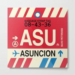 ASU Asuncion • Airport Code and Vintage Baggage Tag Design Metal Print