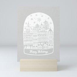 Linocut White Holidays Mini Art Print
