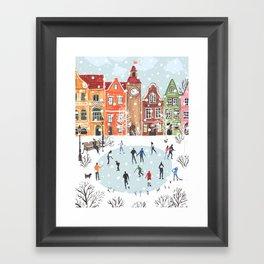 winter town Framed Art Print