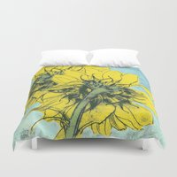 alisa burke Duvet Covers featuring The sunflowers moment by anipani