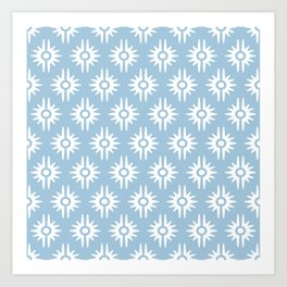 Mid Century Modern Bang Pattern 271 Pale Blue Art Print