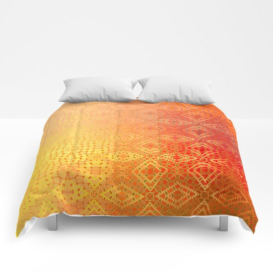 Diamonds Going On Forever (orange) Comforters