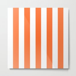 Orange (Crayola) -  solid color - white vertical lines pattern Metal Print