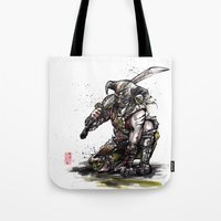 skyrim Tote Bags featuring Dragonborn of Skyrim Japanese sumie style by mycks