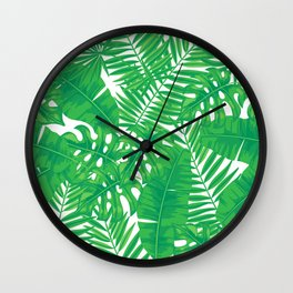 Tropical leaves pattern Wall Clock