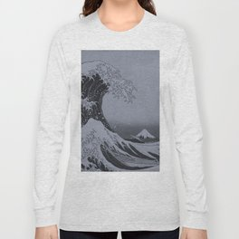 Silver Japanese Great Wave off Kanagawa by Hokusai Long Sleeve T-shirt