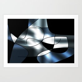 ABSTRACT CURVES #1 (Black, Grays & White) Art Print
