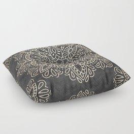 Mandala White Gold on Dark Gray Floor Pillow