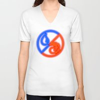 magic the gathering V-neck T-shirts featuring Magic the Gathering, Neon Hybrid Blue/Red Mana by Thorn Blackstar