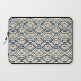 Blue Thin Overlapping Horizontal Lines Pattern on Beige - 2020 Color of the year Chinese Porcelain Laptop Sleeve
