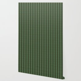 Geometric pattern with waves and pebbles in green Wallpaper