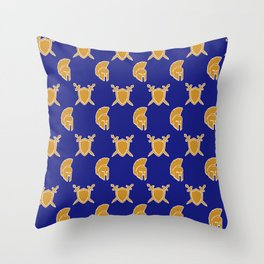 Blue and Gold Warrior Print Throw Pillow