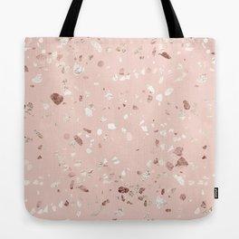 Blush Pink + Rose Gold Terrazzo Tote Bag