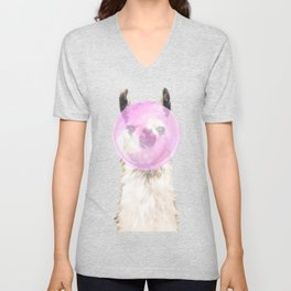Bubble Gum Popped on Llama (2 in series of 3)  Unisex V-Neck