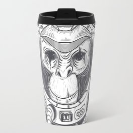 Vector hand drawn illustration of a monkey astronaut, chimpanzee in a space suit Travel Mug
