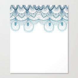 Art Deco Lace Zentangle Design in Blue Canvas Print