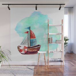 Ship in the Watercolor Wall Mural