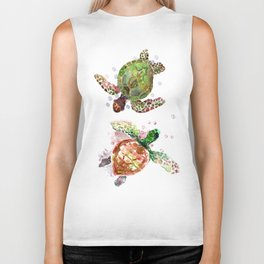 Turtles, Olive Green Cherry Colored Sea Turtles, turtle Biker Tank