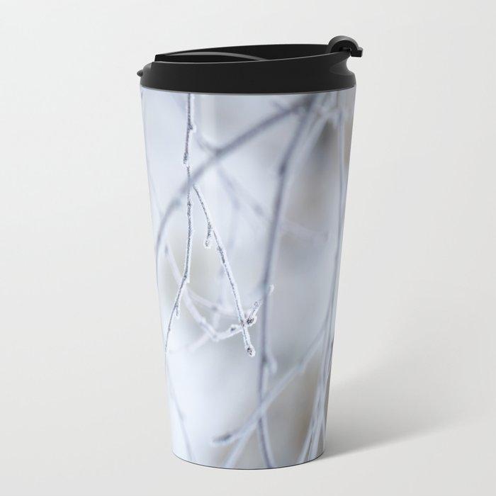 Frozen Twigs in Beautiful Winter Day Metal Travel Mug