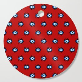 Evil Eye on Red Cutting Board