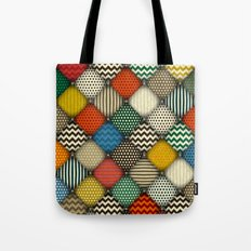 buttoned patches retro Tote Bag