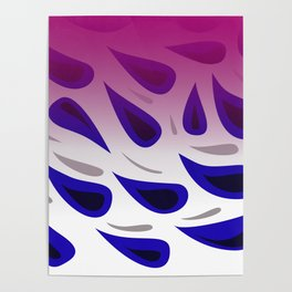 design Blue elements Paisleys Poster