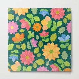 Spring Flower Scatter (on inky blue-green) Metal Print