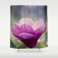 magnolia Shower Curtains featuring magnolia by Sharon Mau