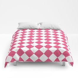 Diamonds - White and Dark Pink Comforters