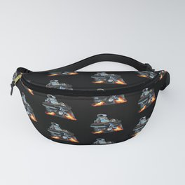 Classic Sixties American Muscle Car Popping a Wheelie Cartoon Illustration Fanny Pack