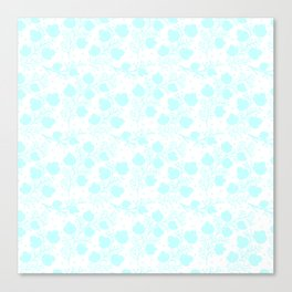 Hand painted watercolor teal polka dots floral pattern Canvas Print