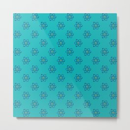 Atom particles with neutrons and electrons rotating and blue background repeat pattern Metal Print