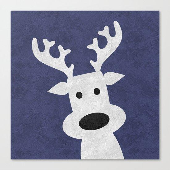 Christmas reindeer blue marble Canvas Print