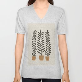 Potted Ferns - Terracotta, Black Unisex V-Neck