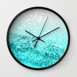 Silver Gray Aqua Teal Ocean Glitter #1 #shiny #decor #art #society6 Wall Clock