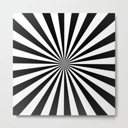 Black and White Rays Metal Print