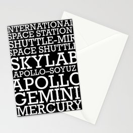 Manned Space Missions print. Stationery Cards