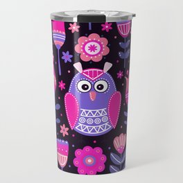 Midnight Pink Purple Owl Pattern Girls Animal Travel Mug