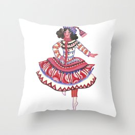 Whimsical Costume. Theater. Circus. Portrait. Dance Throw Pillow