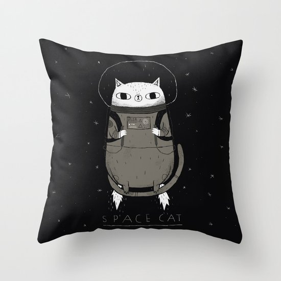 space cat Throw Pillow