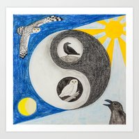 yin yang Art Prints featuring  Yin & Yang  by Owl Art Suri