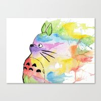 rainbow Canvas Prints featuring My Rainbow Totoro by scoobtoobins