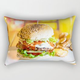 Enjoy Your Burger, Tasty Juicy American Beef Burger, Fast-Food Restaurant, Food Photography Rectangular Pillow