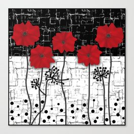 Retro. Red poppies on white background sulfur. Applique. Canvas Print