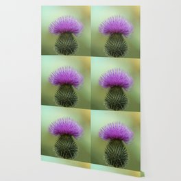 Bright Purple and Green Thistle Wallpaper