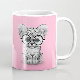 Cute Snow Leopard Cub Wearing Glasses on Pink Coffee Mug