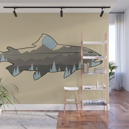 Fly Fishing Blue Mountain Trout Wall Mural