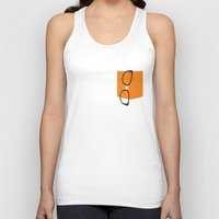 alex vause Tank Tops featuring Alex Vause Glasses with Fake Print Pocket by Zharaoh
