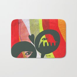 Love between elephants and fishes. Bath Mat