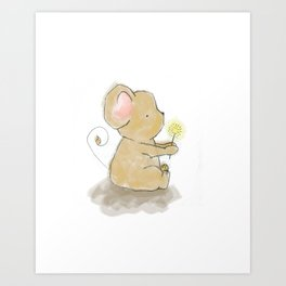 Little brown mouse with dandilion Art Print